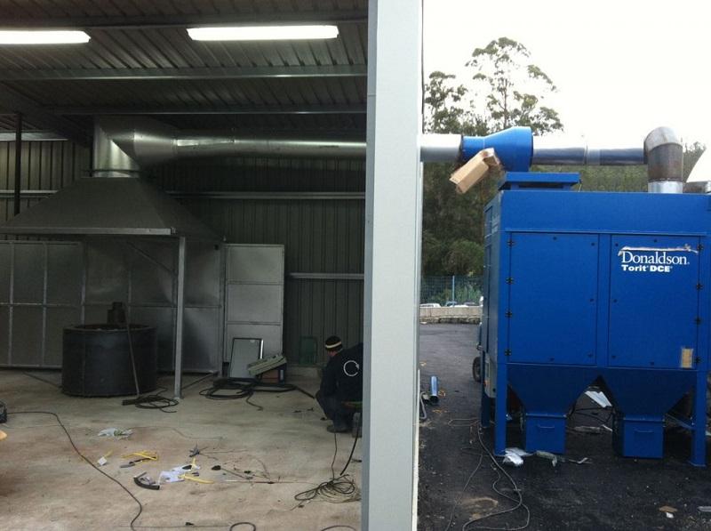 sistema de captación de humos para crisol de plomo