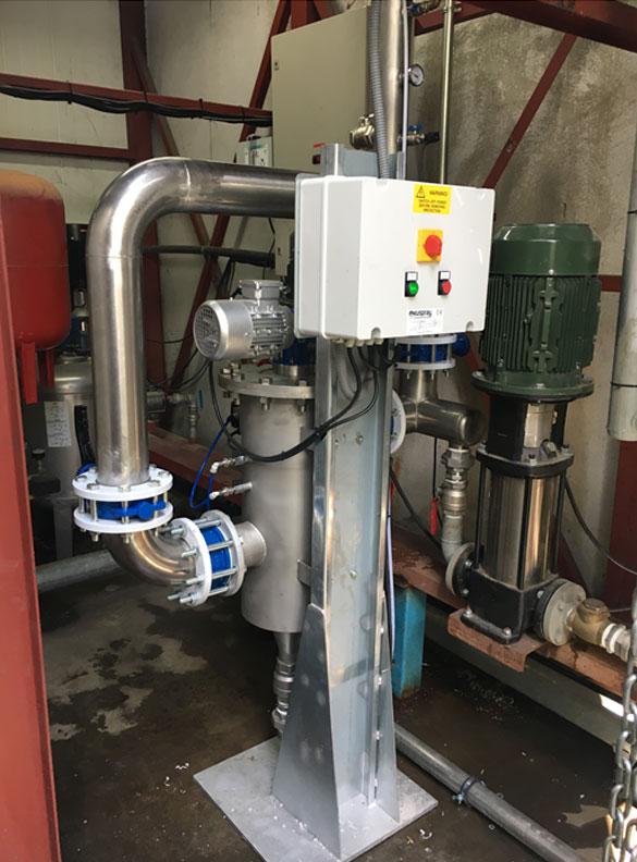 Filtro autolimpiante para agua con restos de poliestireno